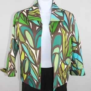 Andre Oliver Green/Teal Leaf Print Jacket